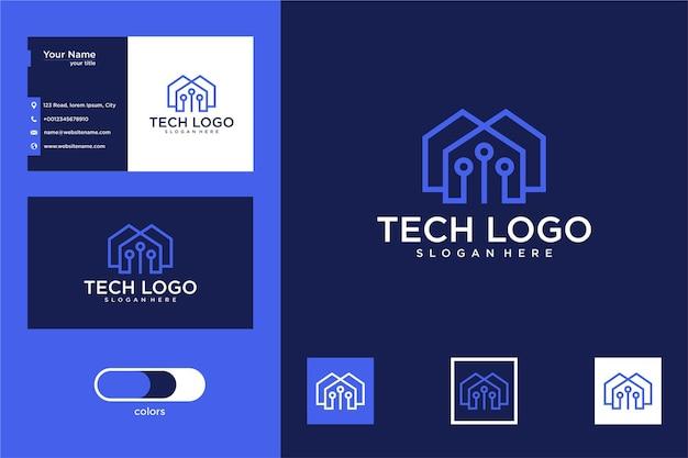 Technika z projektem logo domu i wizytówką
