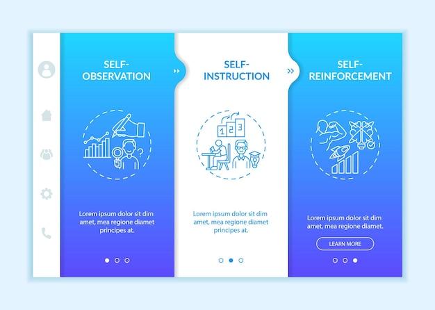 Techniki samokontroli onboardingowy szablon wektora. responsywna strona mobilna z ikonami. przewodnik po stronie internetowej 3 ekrany kroków. koncepcja kolorów strategii samoregulacji z liniowymi ilustracjami