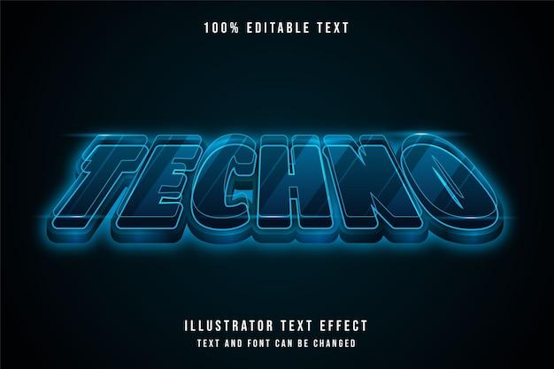 Techno, 3d edytowalny efekt tekstowy niebieski gradacja futurystyczny styl