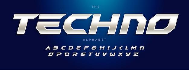 Techno futuryzm alfabet skośny nowoczesny typ czcionki stalowej