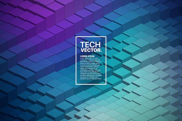 Technologia 3d waveform abstrakcyjne tło wektor