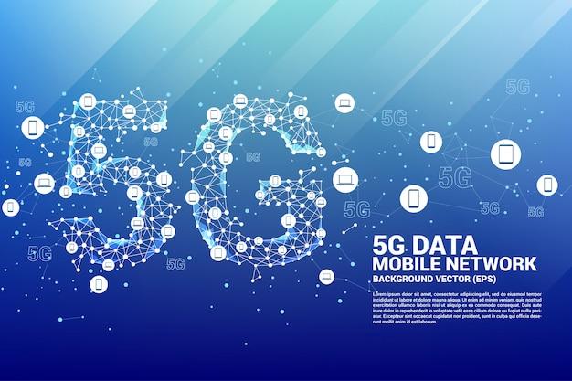 Technologia 5g data z ikony urządzenia