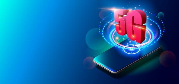 Technologia 5g i koncepcja sieci mobilnych na kolorowym tle.