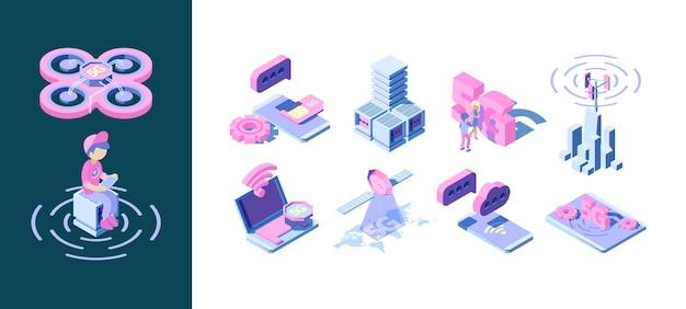 Technologia 5g. koncepcja biznesowa sieci innowacji fal inteligentnej telekomunikacji bezprzewodowej.
