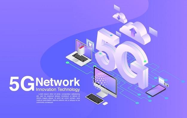 Technologia 5g prędkość internet szerokopasmowe hotspoty wi-fi globalna sieć telekomunikacyjna, izometryczny, 5g, technologia sieciowa