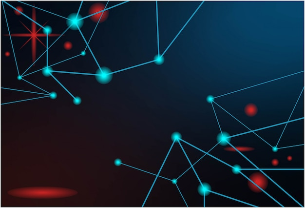 Technologia abstrakcyjna tła z niebieską cząsteczką