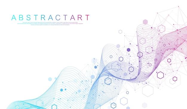 Technologia abstrakcyjne linie i kropki łączą tło z sześciokątami. koncepcja cyfrowa połączenia sześciokątów.