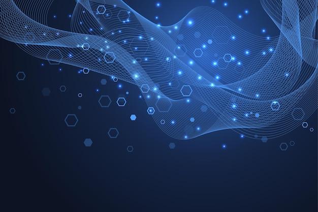 Technologia abstrakcyjne linie i kropki łączą tło z sześciokątami. sześciokątna siatka. sześciokąty łączą dane cyfrowe i koncepcję big data. hex cyfrowa wizualizacja danych. ilustracja wektorowa.