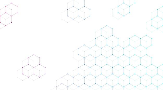 Technologia abstrakcyjne linie i kropki łączą tło z sześciokątami. sześciokąty łączą dane cyfrowe i koncepcję big data. hex cyfrowa wizualizacja danych. ilustracja wektorowa.