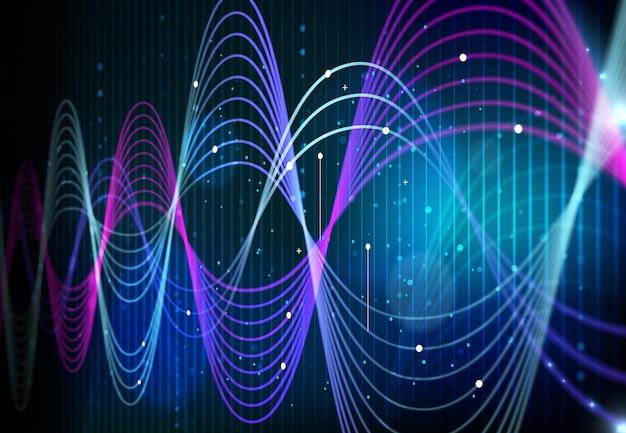 Technologia analizy dużych danych, fale danych cyfrowych na tle ekranu monitora. nauka o sztucznej inteligencji i informacje o sieci cyfrowej abstrakcyjne krzywe infografiki