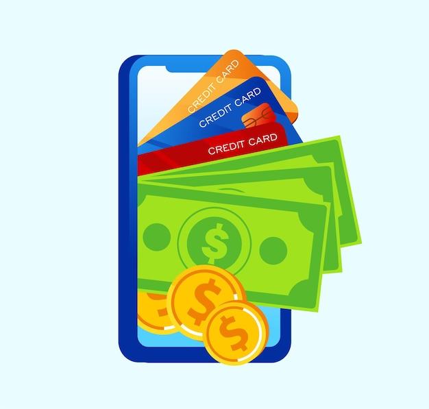 Technologia bankowości internetowej płaski wektor ilustracja transparent