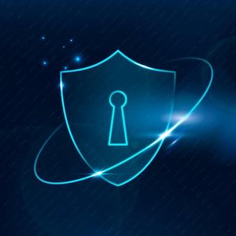 Technologia bezpieczeństwa cybernetycznego tarczy blokady w niebieskim odcieniu