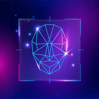 Technologia bezpieczeństwa cybernetycznego ze skanowaniem biometrycznym rozpoznawania twarzy scan
