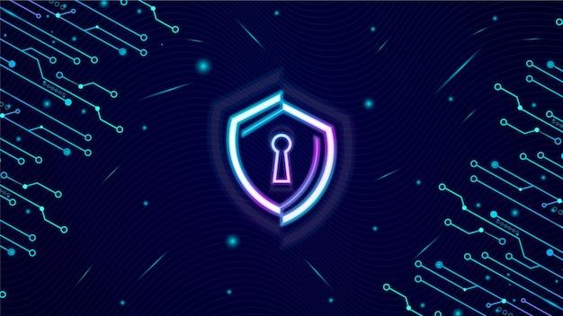 Technologia bezpieczeństwa danych komputerowych tło z ikoną tarczy niebieski kolor