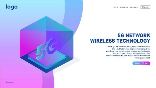 Technologia bezprzewodowa sieci 5g mobilny internet nowej generacji szablon projektu strony internetowej