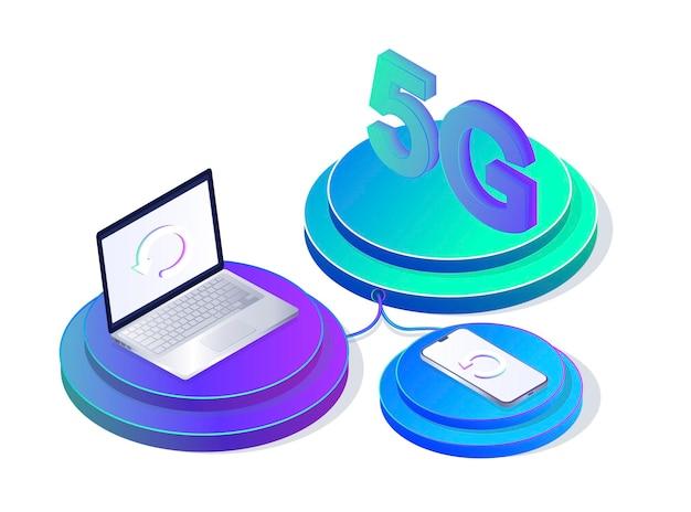 Technologia bezprzewodowa sieci 5g super szybka aktualizacja transferu danych ikona przycisku pudełka na stronie internetowej
