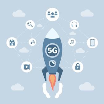 Technologia bezprzewodowa sieci 5g wektor koncepcja płaski baner. rakieta kosmiczna z technologią 5g latająca.
