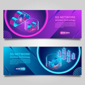 Technologia bezprzewodowa sieci banner 5g do projektowania izometrycznego biznesu