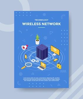 Technologia bezprzewodowego serwera sieciowego łączącego urządzenie laptop smartfon do szablonu banera i ulotki