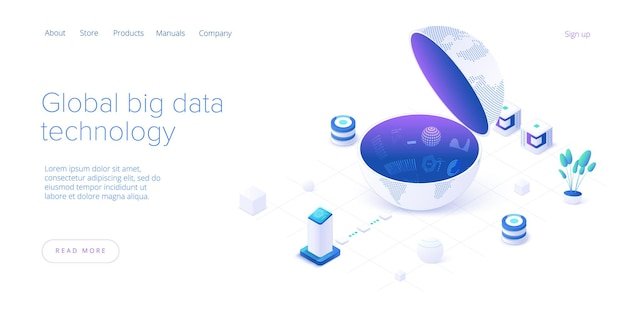 Technologia big data na izometrycznej stronie docelowej. system przechowywania i analizy informacji. szablon układu banera internetowego technologii cyfrowej dla strony docelowej witryny.