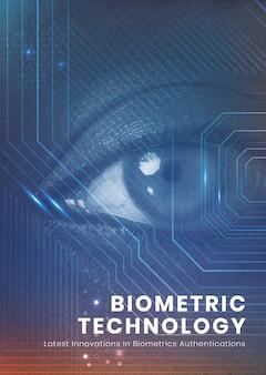 Technologia biometryczna plakat szablon bezpieczeństwa futurystyczna innowacja