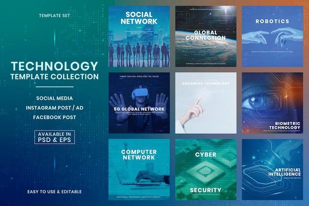 Technologia biznesowa innowacja szablon wektor futurystyczny zestaw postów w mediach społecznościowych