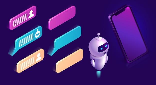 Technologia chatbot, zestaw ikon izometryczny interfejs