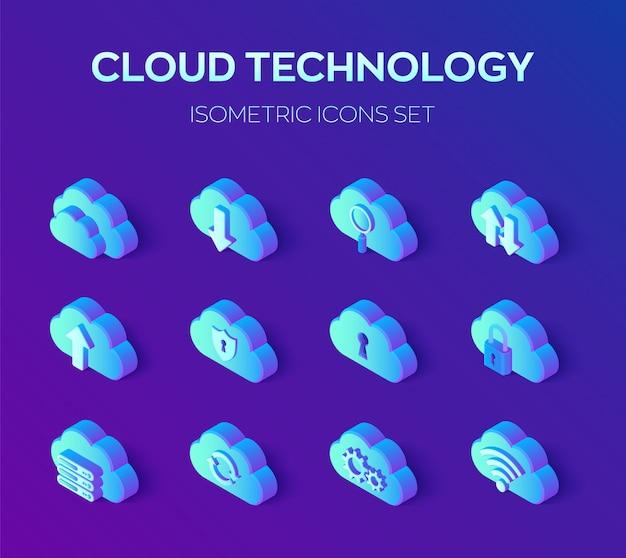 Technologia chmurowa. zestaw ikon izometryczny 3d.