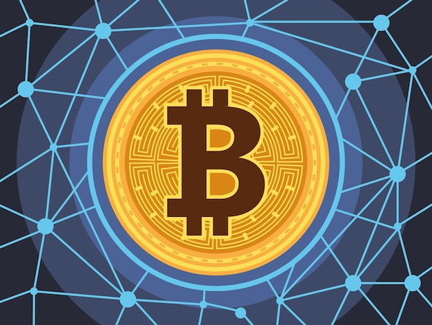 Technologia cyber pieniędzy bitcoin w projektowaniu ilustracji wektorowych świateł obwodu