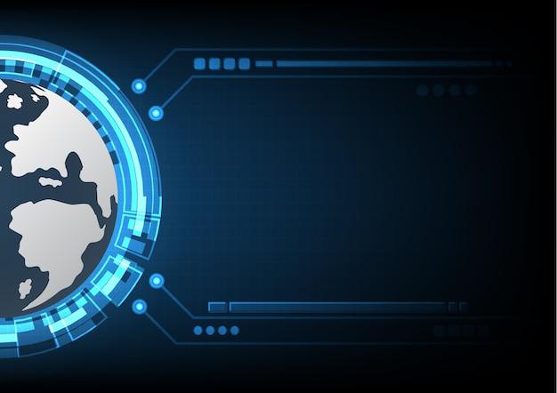 Technologia cyber streszczenie świat koło pasek tło