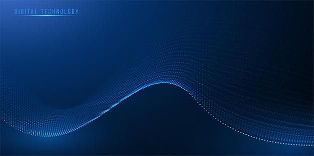 Technologia cyfrowa fala od połączenia dot design, dynamiczne płynące kolorowe światło