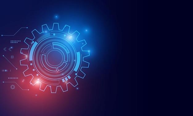 Technologia cyfrowa i inżynieria, koncepcja cyfrowej telekomunikacji, hi-tech, futurystyczne tło technologii