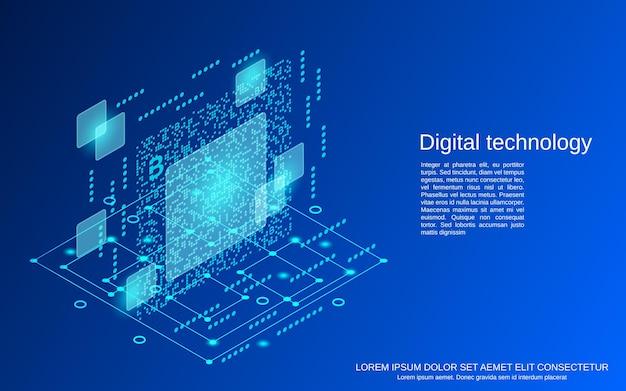 Technologia cyfrowa ilustracja koncepcja płaski 3d izometryczny wektor