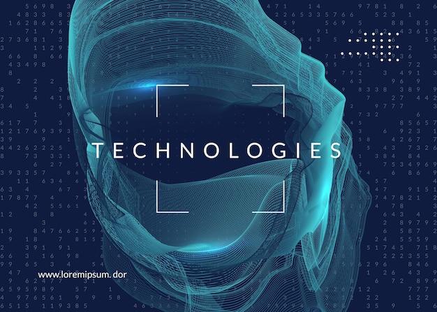 Technologia cyfrowa streszczenie tło. sztuczna inteligencja, głębokie uczenie i koncepcja big data. wizualizacja techniczna dla szablonu bazy danych. cyber technologia cyfrowa streszczenie.