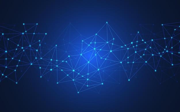 Technologia cyfrowa tło z łączeniem kropek i linii. streszczenie zaplecze techniczne połączenia sieciowego i komunikacji.