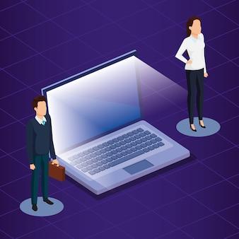 Technologia cyfrowa z ludźmi biznesu izometryczny