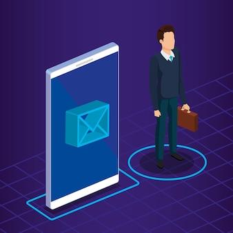 Technologia cyfrowa z osobą biznesu izometryczny