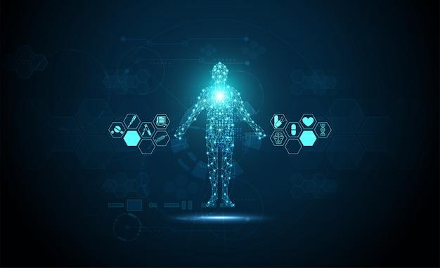 Technologia cyfrowe zdrowie medyczne pojęcie ludzkie cyfrowe tło medyczne