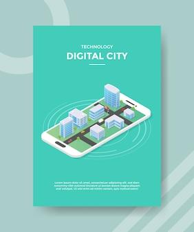 Technologia cyfrowego miasta na szablonie ulotki dla smartfonów