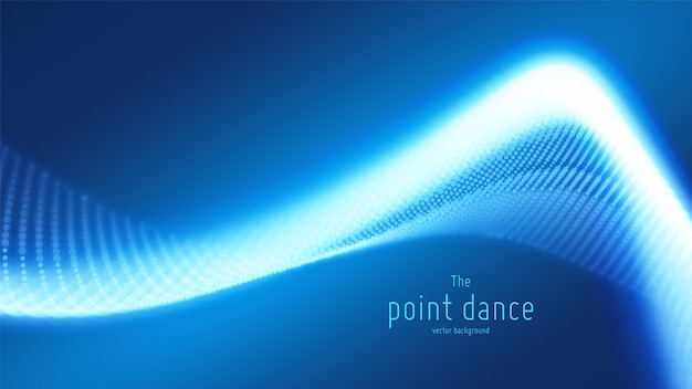 Technologia cyfrowy plusk lub eksplozja tła punktów danych. fala tańca punktowego. cyber ui, element hud.