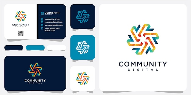Technologia cyfrowy projekt wektor logo z koncepcją społeczności cyfrowej dla społeczności technologicznej, oprogramowania aplikacyjnego. projekt logo społeczności r