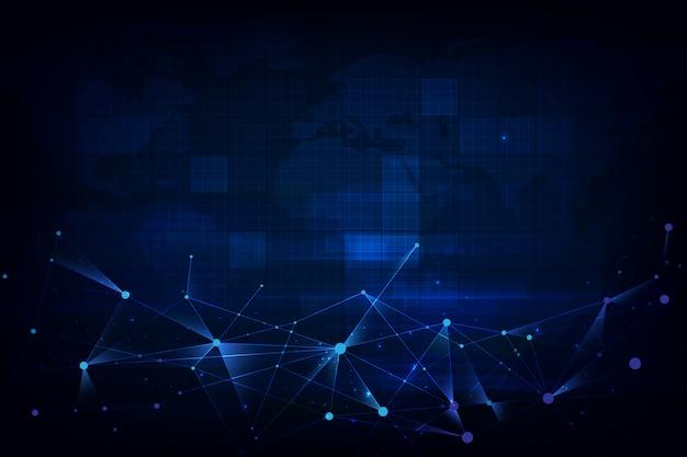 Technologia cząsteczek o wielokątnych kształtach na ciemnym niebieskim tle futurystycznym.