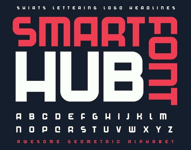 Technologia czcionki litery alfabetu nowoczesne futurystyczne typograficzne litery bezszeryfowe ustawione na cyfrowe