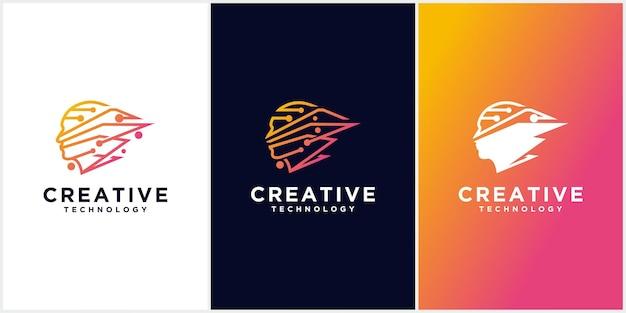 Technologia człowiek głowa logo, znak koncepcji dla biznesu, nauki, psychologii, medycyny. głowa kreatywnych znak męskiej sylwetki.