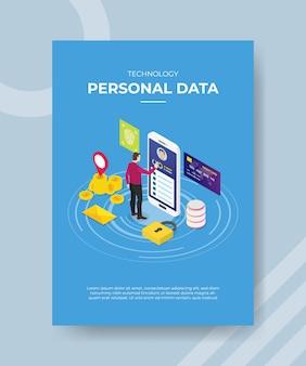 Technologia danych osobowych mężczyzn stojących duży smartfon z ekranem dotykowym do szablonu banera i ulotki