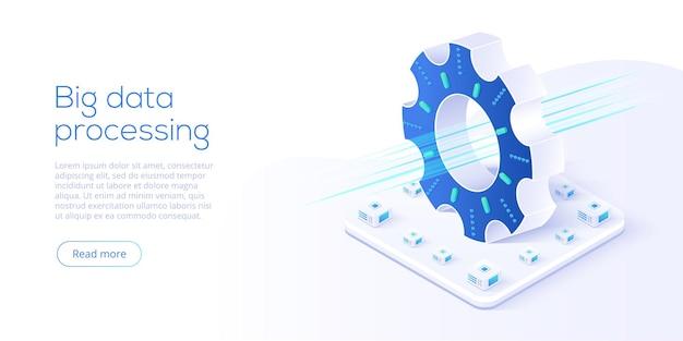 Technologia dużych zbiorów danych w izometrycznej ilustracji wektorowych