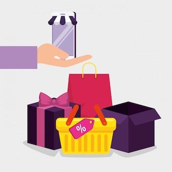 Technologia e-commerce na smartfony z koszem i paczkami