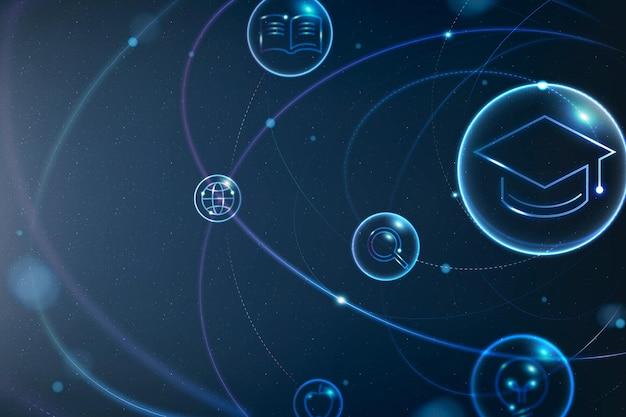 Technologia edukacji futurystyczny wektor tła w gradientowym niebieskim cyfrowym remiksie