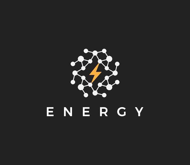 Technologia energetyczna płaski wektor koncepcja logo abstrakcyjny okrągły logotyp ze strukturą kropek i
