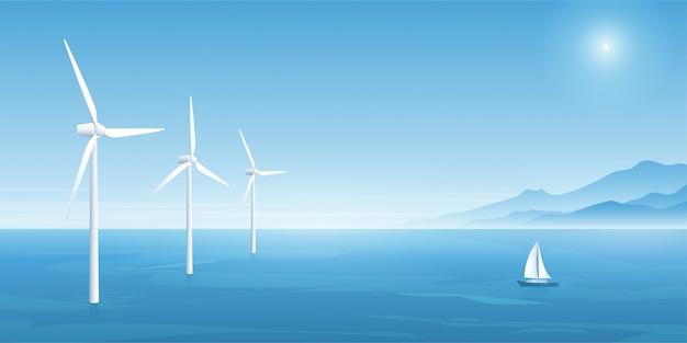 Technologia energii wiatrowej. ilustracji wektorowych.